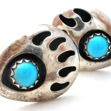 Navajo Turquoise Bear Claw Turquoise Earrings