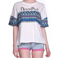 MapelClan Bohemian Tribal Stripe Geometric Print Lace Loose Women's T Shirt