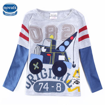 boys t-shirts nova kids clothes long sleeve boys clothes embroidery car children clothing spring autumn t shirts for boys A5615
