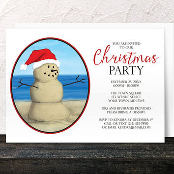 Beach Christmas Party Invitations - Modern Illustrated Sand Snowman - Summer Beach Christmas Invitations - Printed Invitations