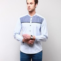 Wesley Stripes Shirt - White & Blue Online Shopping | 71658