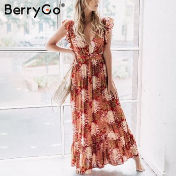BerryGo v neck ruffle print summer dress Hollow out long dress women Boho beach loose casual maxi dress vestidos 2018