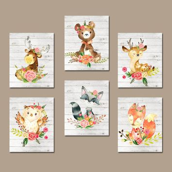 Woodland Nursery Art. Girl Forest Animals. Woodland Nursery Decor. Floral Nursery Art.  Girl Nursery Wall Art. Set of 6. Canvas or Print