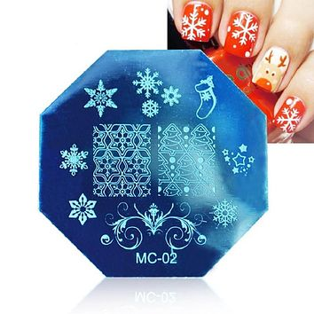 Christmas snowflake Art Plate Stamp Stamping Set Round Stainless Steel DIY Nail Polish Print Manicure Nail Stencil Template