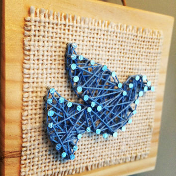 Blue bird wall or shelf decor, string art!