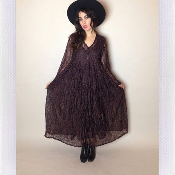 90's LACE MAXI DRESS - black and plum - long sleeves - button up - empire waist - medium