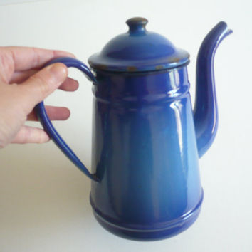 Antique French Enamel Marine Blue Coffee Pot/Tea Pot