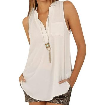 White Button V Neck Sleeveless Chiffon Blouse