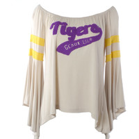 Judith March Vintage Embroidered LSU Tee with Flounce Sleeve