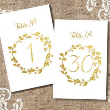 Gold Table Numbers For Weddings, 1 - 30, Printable Table Numbers For Weddings, Unique Table Numbers, Instant Download, Wedding Number Sets
