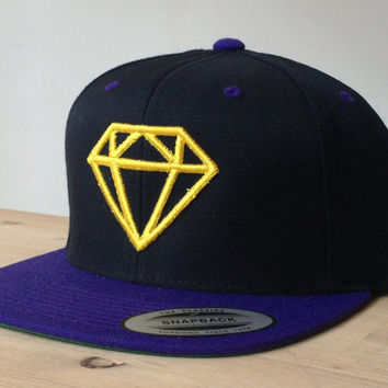 Diamond Snapback Cap with Custom Embroidered Logo.  Made to order quality snap back hats and designs