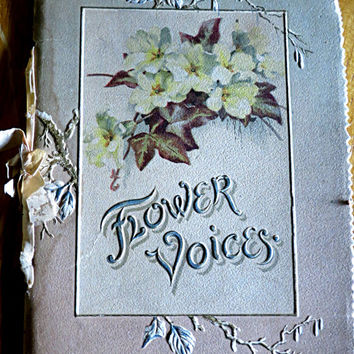 Flower Voices Book, Antique Poetry Book, Cecilia Havergal Poem, Antique Book Flowers, Victorian Poetry Book, Gift For Poetry Lover