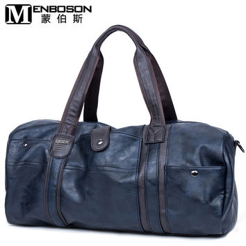 2016 Brand New Men Soft Leather Travel Bags Casual Large capacity bag Men Travel Duffle Bag PU leather Tote bag Free Shipping