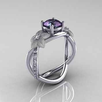 Nature Classic 950 Platinum 1.0 CT Alexandrite Diamond  Leaf and Vine Engagement Ring R180-PLATDAL