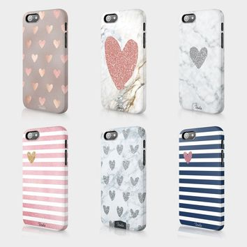 Tirita Marble Glitter Hearts Rose Gold Cute Phone Case Hard Cover For Iphone
