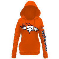 Denver Broncos 5th and Ocean by New Era Women's Snap Count Pullover Hoodie – Orange