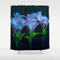 pink and blue flowers on black Shower Curtain by Scott Hervieux
