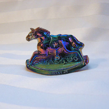 Glass Rocking Horse Figurine Blue Carnival Glass 1983 Vintage Guernsey Glass Miniature Horse