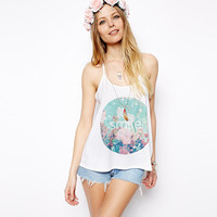 "White Strappy ""SMILE"" Print Top"
