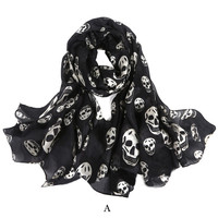 Mulberry Silk Dense Skeleton Print Scarf