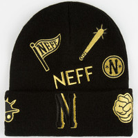 Neff Sportmanship Cuff Beanie Black/Gold One Size For Men 24654377401