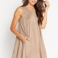 Cool Texture Faux Suede Trapeze Dress