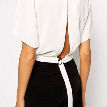 White Short Sleeve Back Slit Cropped Blouse