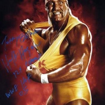 VONE05 Hulk Hogan Signed Autographed 'Terry Bollea' Glossy 16x20 Photo w/ Stats (ASI COA)