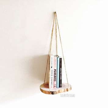 Hanging Shelf, Rustic Decor, Beach Decor, Cedar Wood, Home Decor, Wood Shelf, Book Shelf, Floating Shelf, Plant Hanger, Wood Slice