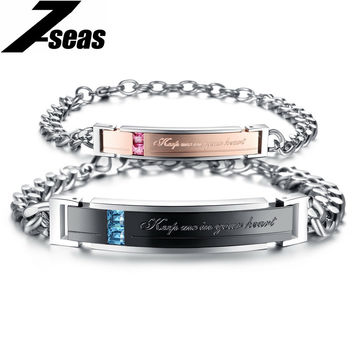 "2016 New Romantic ""Keep me in your heart"" Couple Bracelets Full Crystal+Stainless Steel Promiss Bracelets For Lovers GS752"