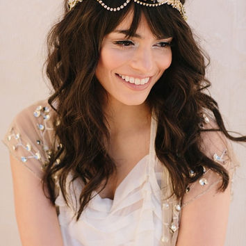 Zephyr Bridal Headband, Russian Veil, Rhinestone Chain, Bohemian Bridal Hair Piece, Wedding Headpiece, Ships in 1 Month