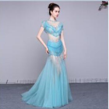 O Neck Cap Sleeves Shining Tulle Mermaid Long Prom Dresses Transparent Backless Floor Length Prom Dress
