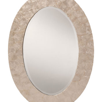 Office Star Rio Beveled Wall Mirror with White Mother of Pearl Oval Frame [GC0520-11]