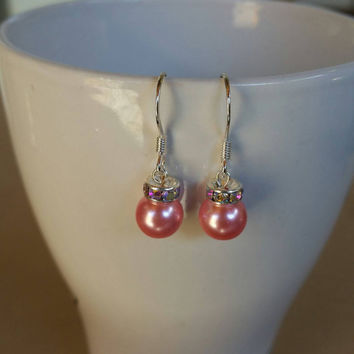 Pearl mint green and pink christmas ornament silver plated earrings