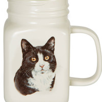 All you need is Love and a Black and White Cat Mason Jar Mug