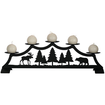 Wrought Iron Fireplace Pillar Candle Holder