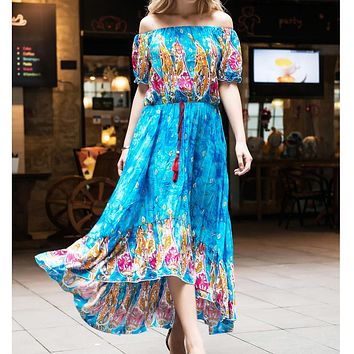 Fashion Bohemian Orientation Printed Short-sleeved Dress with Shoulder-fringed