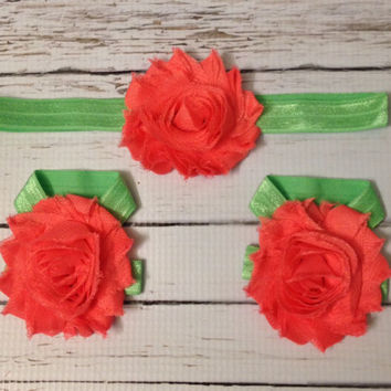 Coral & Green baby barefoot sandals headband set...Baby Barefoot Sandals... Headbands