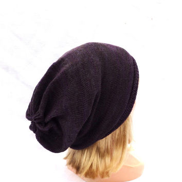 knitted beanie hat, knit colorful purple gray brown adult cap, knitting multicolor winter autumn hat , women men teen cloche, accessories