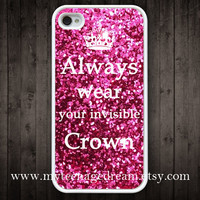 iphone 4 case, iPhone 4s Case, always wear your invisible crown sparkle Painting white hard case for iphone 4, iphone 4S