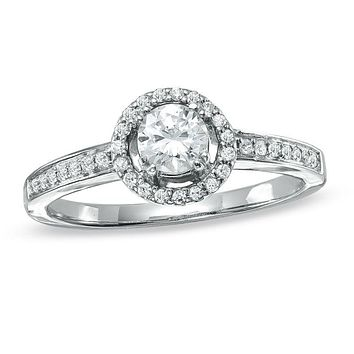 1/2 CT. T.W. Diamond Framed Engagement Ring in 14K White Gold