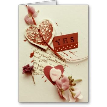 Yes word with hearts Valentine card
