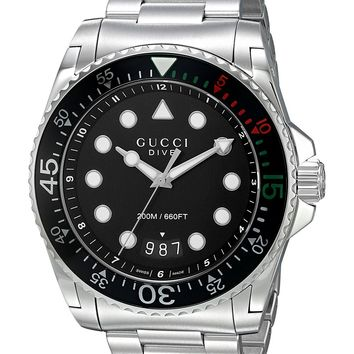 Gucci Swiss Quartz Stainless Steel Dress Silver-Toned Men's Watch(Model: YA136208)