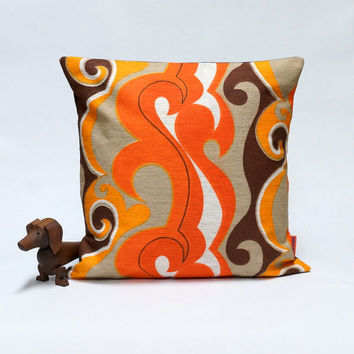 70s Retro Pillow Cover  40x40 - 16x16 - mid century decorative throw pillow - Handmade with love from vintage fabrics