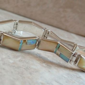 Inlaid Opal Bracelet Gold Lip Mother of Pearl Navajo 7 Inch Bitsie Vintage