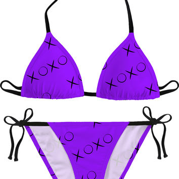 XOXO black and purple pattern bikini set, hugs and kisses swimwear, stylish design