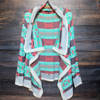 cozy bonfire knit cardigan sweater | aqua