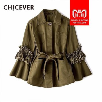 Trendy CHICEVER Autumn Jackets For Women's Coats Feamle Tassel Flare Sleeve Loose Big Size Hem Pleated Women Jackets 2018 Fashion Tide AT_94_13