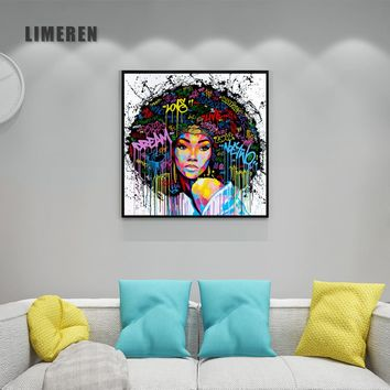 New Graffiti Street Wall Art Abstract Modern African Women Portrait Canvas Oil Painting On Prints For Living Room 98549-2