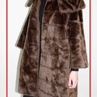 vintage faux fur coat large collar brown faux fur coat midi coat medium large FREE SHIPPING 123